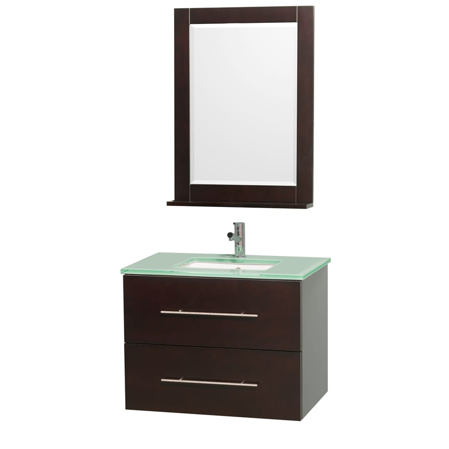 Wyndham Collection Centra Espresso Undermount Single Sink Bathroom Vanity with Tempered Glass and Glass Top (Common: 30-in x 21-in; Actual: 30-in x 20.5-in)