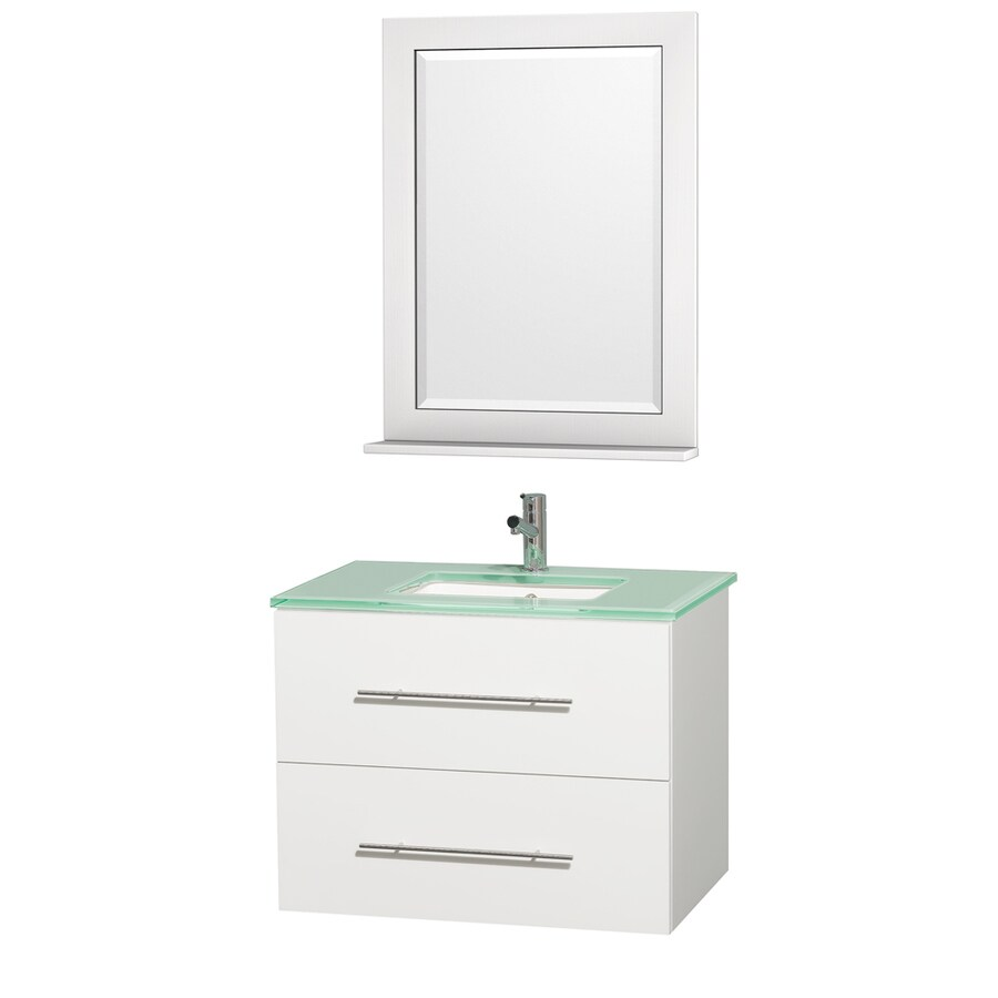 Wyndham Collection Centra Matte White Undermount Single Sink Bathroom Vanity with Tempered Glass and Glass Top (Common: 30-in x 21-in; Actual: 30-in x 20.5-in)