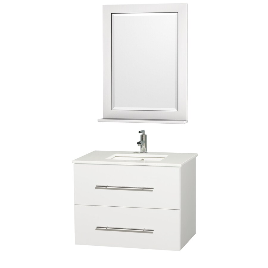 Wyndham Collection Centra Matte White Undermount Single Sink Bathroom Vanity with Engineered Stone Top (Common: 30-in x 21-in; Actual: 30-in x 20.5-in)
