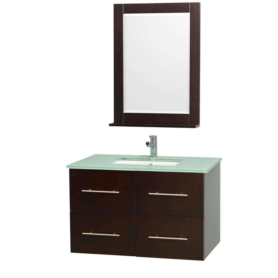 Wyndham Collection Centra Espresso Undermount Single Sink Bathroom Vanity with Tempered Glass and Glass Top (Common: 36-in x 22-in; Actual: 36-in x 21.5-in)