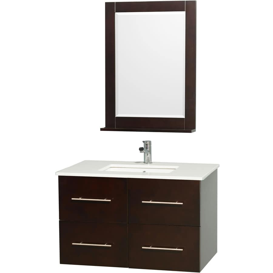 Wyndham Collection Centra Espresso 36-in Undermount Single Sink Oak Bathroom Vanity with Engineered Stone Top (Mirror Included)