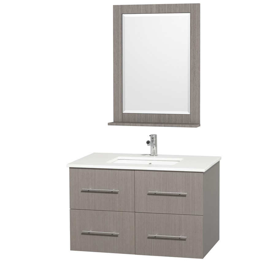 Wyndham Collection Centra Grey Oak Undermount Single Sink Bathroom Vanity with Engineered Stone Top (Common: 36-in x 22-in; Actual: 36-in x 21.5-in)