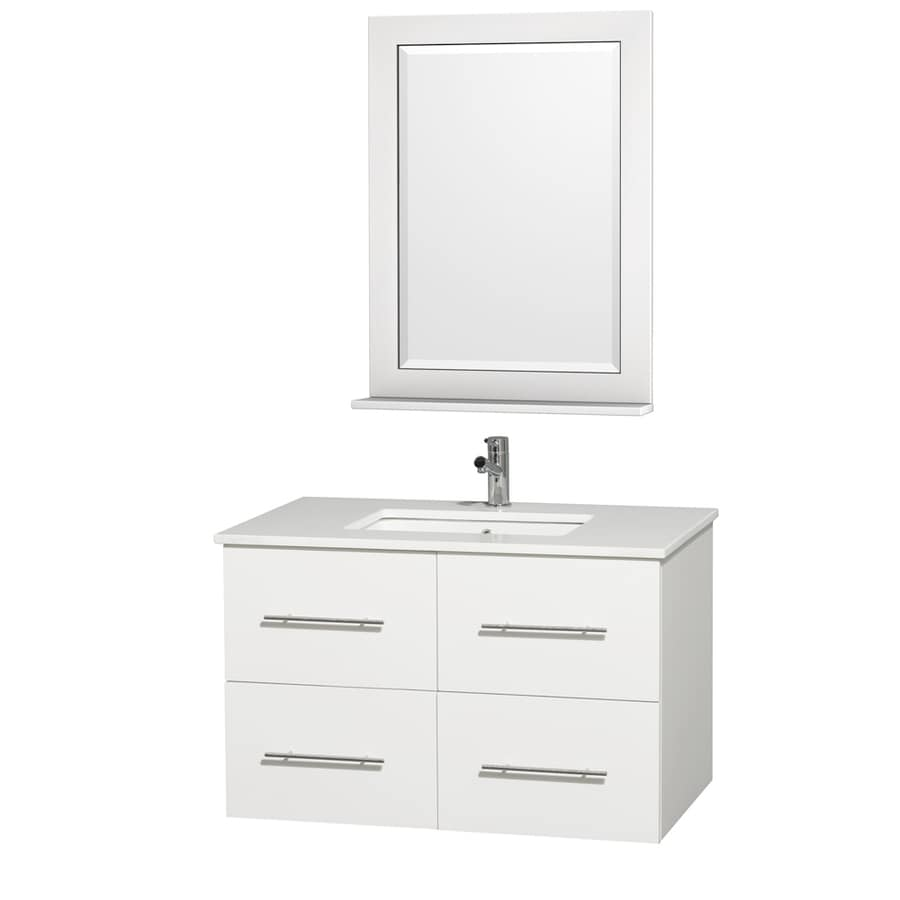 Wyndham Collection Centra Matte White Undermount Single Sink Bathroom Vanity with Engineered Stone Top (Common: 36-in x 22-in; Actual: 36-in x 21.5-in)