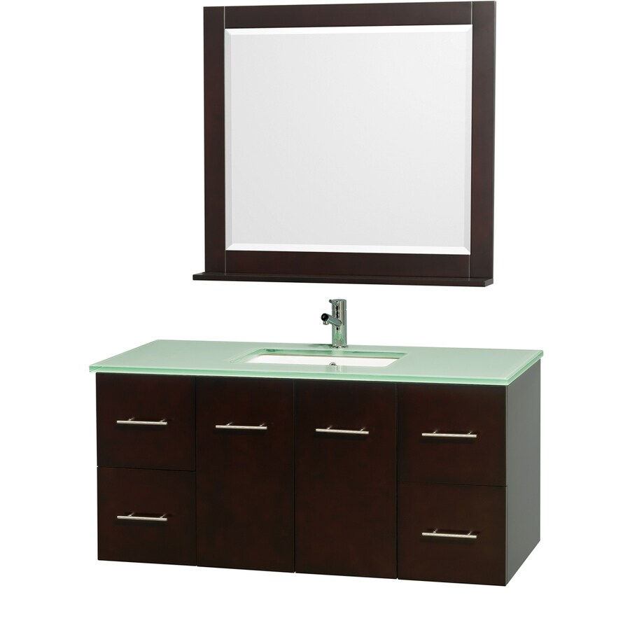 Wyndham Collection Centra Espresso Undermount Single Sink Bathroom Vanity with Tempered Glass and Glass Top (Common: 48-in x 22-in; Actual: 48-in x 21.5-in)