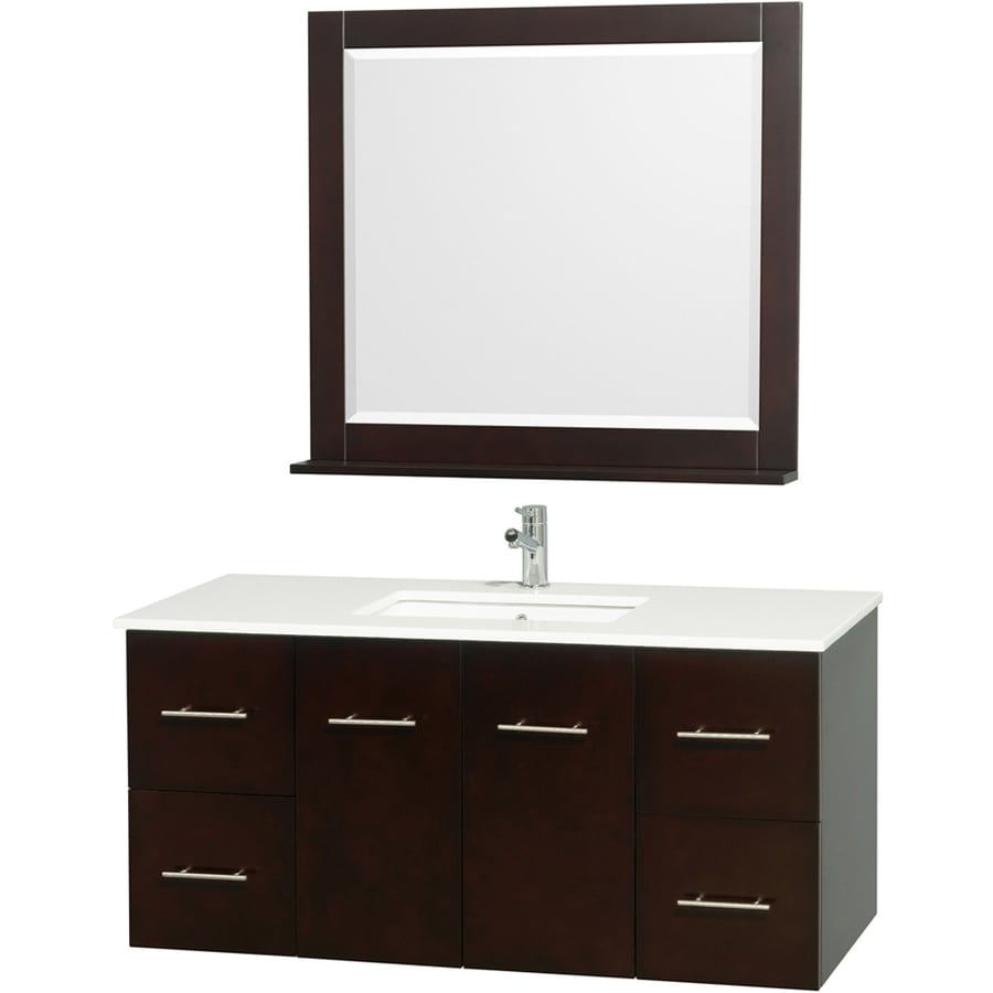 Wyndham Collection Centra Espresso Undermount Single Sink Bathroom Vanity with Engineered Stone Top (Common: 48-in x 21.5-in; Actual: 48-in x 21.5-in)