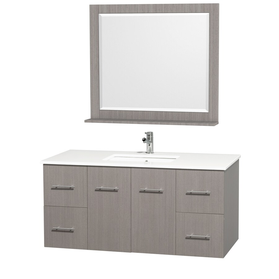 Wyndham Collection Centra Grey Oak Undermount Single Sink Bathroom Vanity with Engineered Stone Top (Common: 48-in x 22-in; Actual: 48-in x 21.5-in)