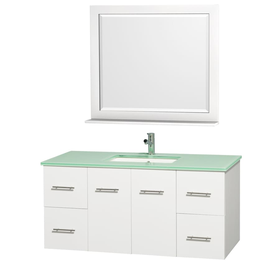 Wyndham Collection Centra Matte White Undermount Single Sink Bathroom Vanity with Tempered Glass and Glass Top (Common: 48-in x 22-in; Actual: 48-in x 21.5-in)