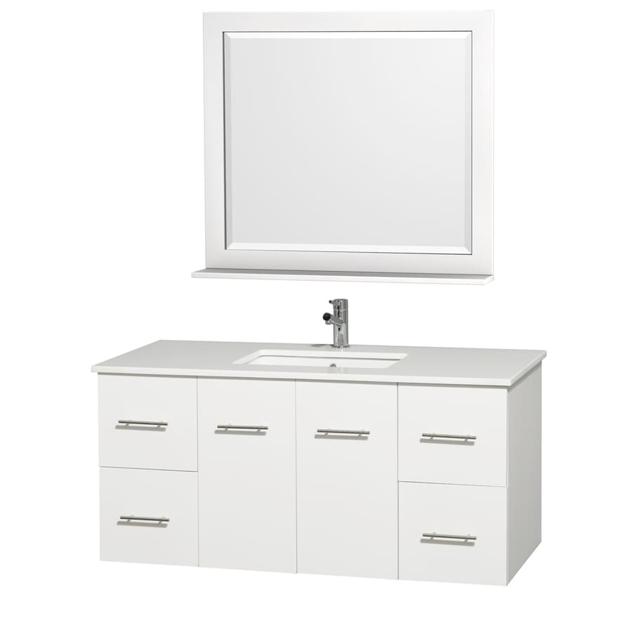 Wyndham Collection Centra Matte White 48-in Undermount Single Sink Oak Bathroom Vanity with Engineered Stone Top (Mirror Included)