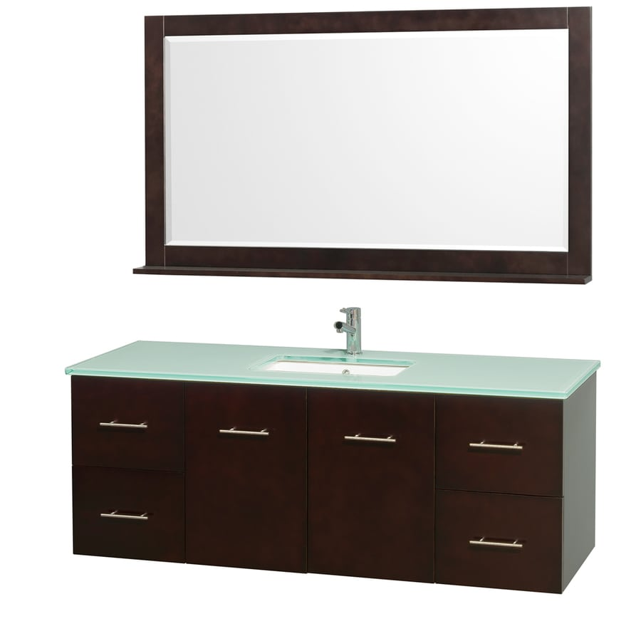 Wyndham Collection Centra Espresso Undermount Single Sink Bathroom Vanity with Tempered Glass and Glass Top (Common: 60-in x 22-in; Actual: 60-in x 22.25-in)