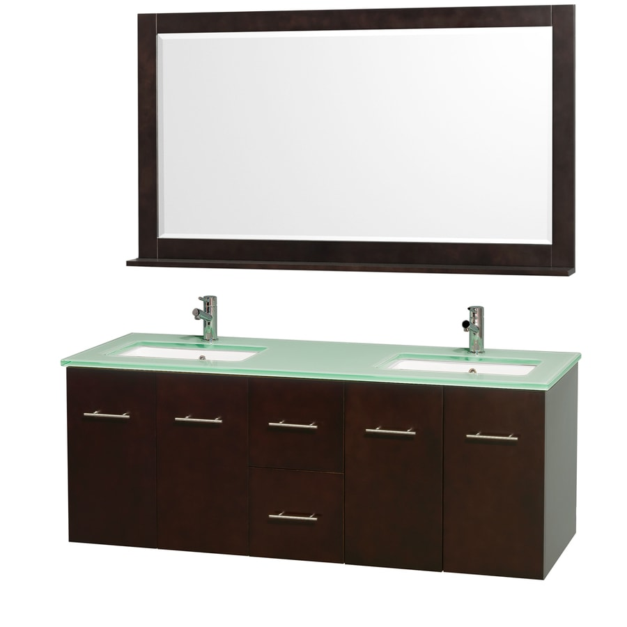 Wyndham Collection Centra Espresso 60-in Undermount Double Sink Oak Bathroom Vanity with Tempered Glass and Glass Top (Mirror Included)