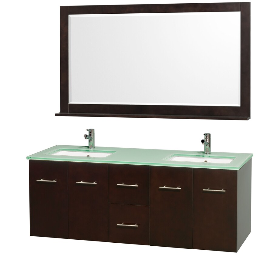 Wyndham Collection Centra Espresso Undermount Double Sink Bathroom Vanity with Tempered Glass and Glass Top (Common: 60-in x 22-in; Actual: 60-in x 22.25-in)
