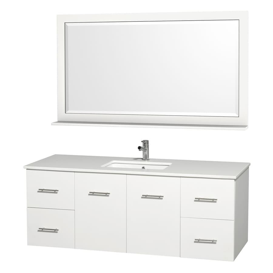 Wyndham Collection Centra Espresso 60-in Undermount Single Sink Oak Bathroom Vanity with Engineered Stone Top (Mirror Included)