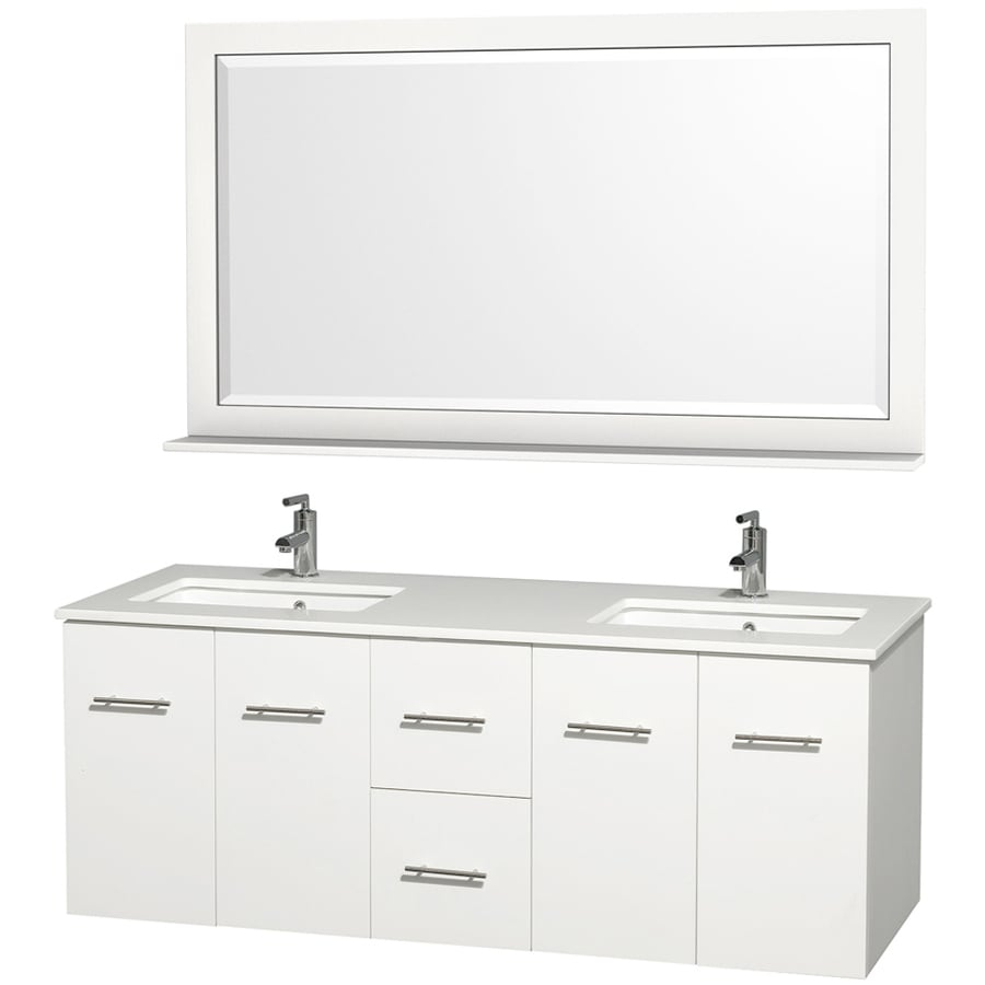 Shop wyndham collection centra espresso undermount double sink bathroom vanity with engineered - Double bathroom vanities granite tops ...