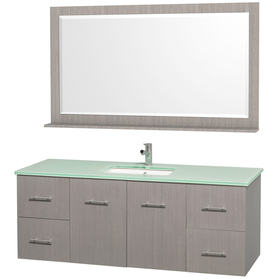 Wyndham Collection Centra Gray Oak Undermount Single Sink Bathroom Vanity with Tempered Glass and Glass Top (Common: 60-in x 22.5-in; Actual: 60-in x 22.25-in)