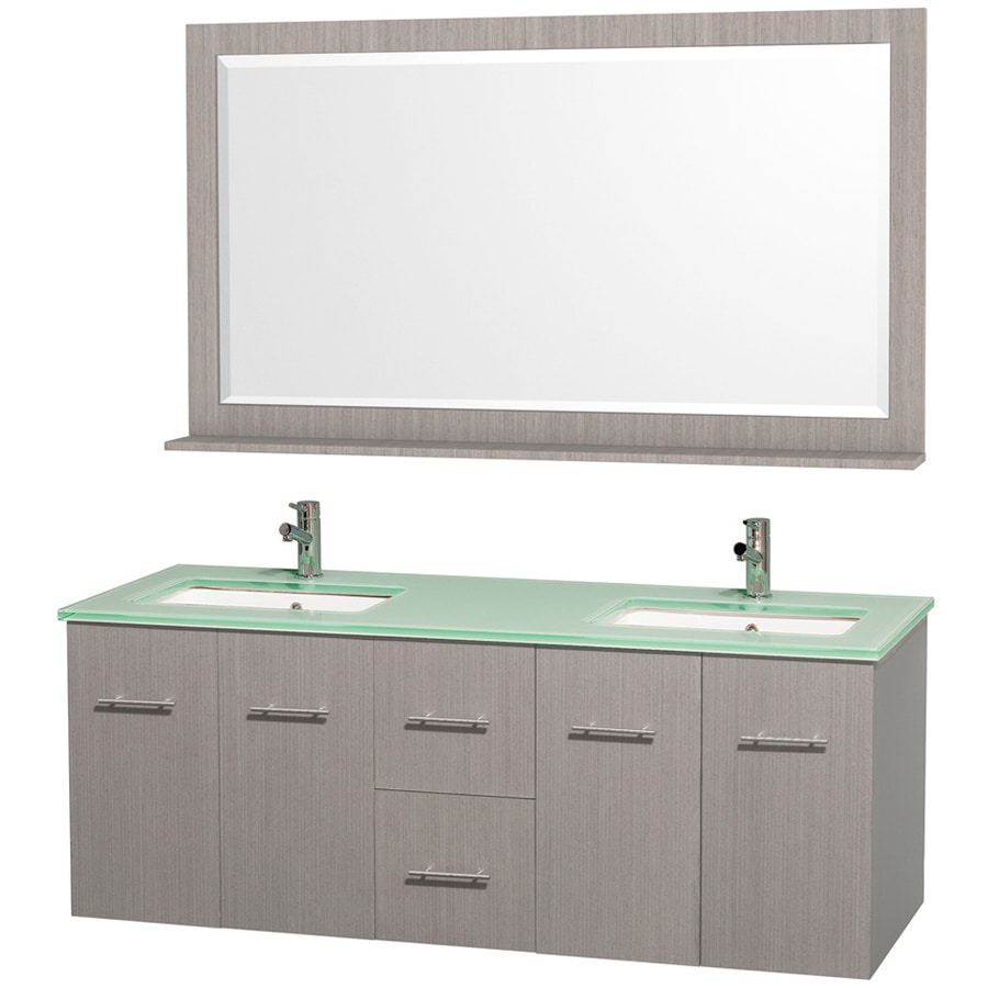 Wyndham Collection Centra Gray Oak 60-in Undermount Double Sink Oak Bathroom Vanity with Tempered Glass and Glass Top (Mirror Included)