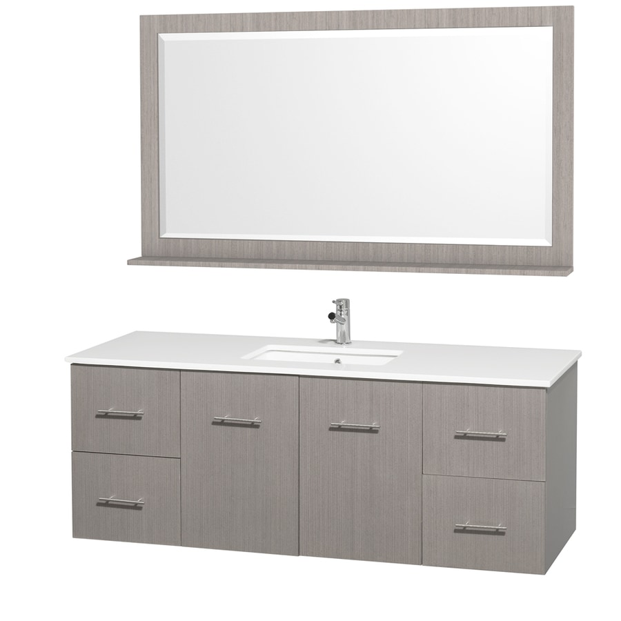 Wyndham Collection Centra Grey Oak Undermount Single Sink Bathroom Vanity with Engineered Stone Top (Common: 60-in x 22-in; Actual: 60-in x 22.25-in)