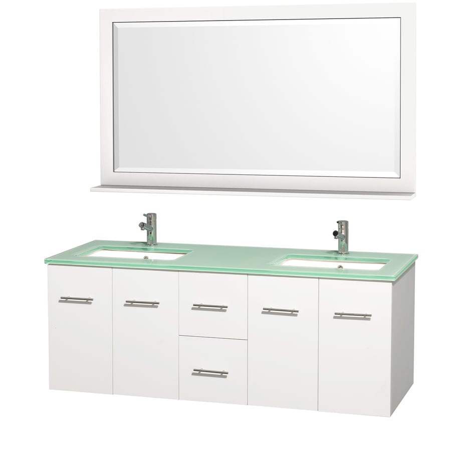Wyndham Collection Centra Matte White Undermount Double Sink Bathroom Vanity with Tempered Glass and Glass Top (Common: 60-in x 22-in; Actual: 60-in x 22.25-in)