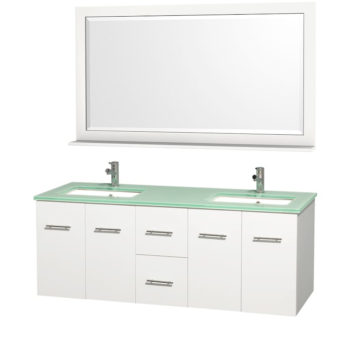 Wyndham Collection Centra 60 In Matte White Undermount Double Sink Bathroom Vanity With Green Tempered Glass Top Mirror Included The Vanities Tops Department At Lowes Com