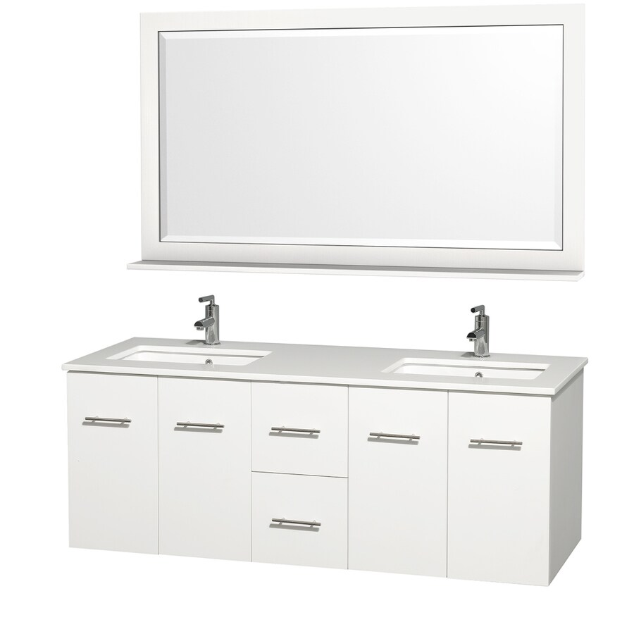 Wyndham Collection Centra Matte White Undermount Double Sink Bathroom Vanity with Engineered Stone Top (Common: 60-in x 22-in; Actual: 60-in x 22.25-in)