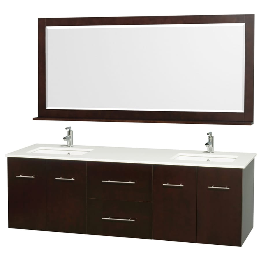 Wyndham Collection Centra Espresso 72-in Undermount Double Sink Oak Bathroom Vanity with Engineered Stone Top (Mirror Included)