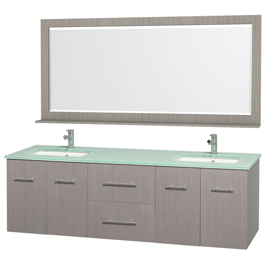 Wyndham Collection Centra Gray Oak 72-in Undermount Double Sink Oak Bathroom Vanity with Tempered Glass and Glass Top (Mirror Included)