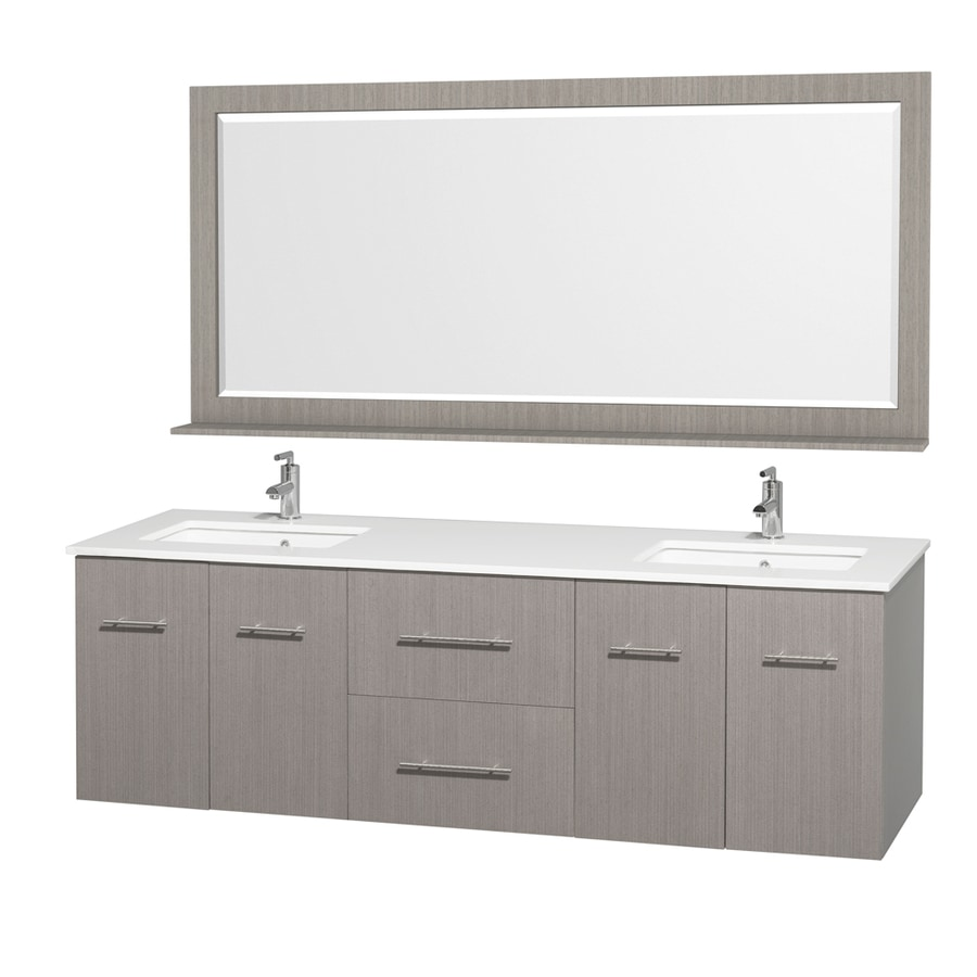 Wyndham Collection Centra Grey Oak Undermount Double Sink Bathroom Vanity with Engineered Stone Top (Common: 72-in x 22-in; Actual: 72-in x 22.25-in)