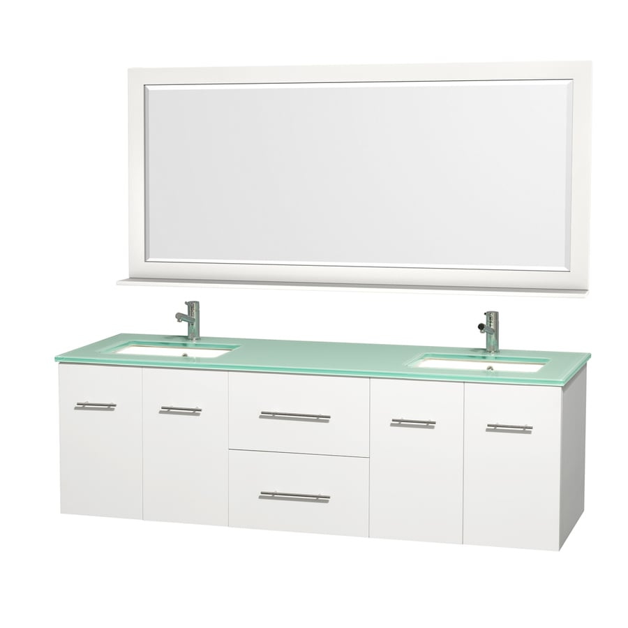 Wyndham Collection Centra Matte White Undermount Double Sink Bathroom Vanity with Tempered Glass and Glass Top (Common: 72-in x 22-in; Actual: 72-in x 22.25-in)