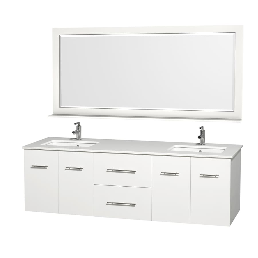 Wyndham Collection Centra Matte White Undermount Double Sink Bathroom Vanity with Engineered Stone Top (Common: 72-in x 22-in; Actual: 72-in x 22.25-in)