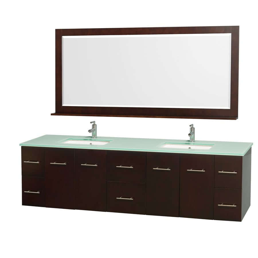 Wyndham Collection Centra Espresso Undermount Double Sink Bathroom Vanity with Tempered Glass and Glass Top (Common: 80-in x 22-in; Actual: 80-in x 22.25-in)