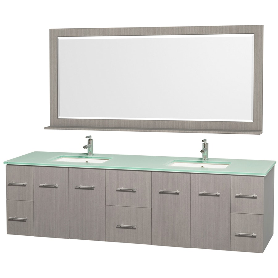 Glass Bathroom Cabinets Shop Wyndham Collection Centra Gray Oak 80 In Undermount Double