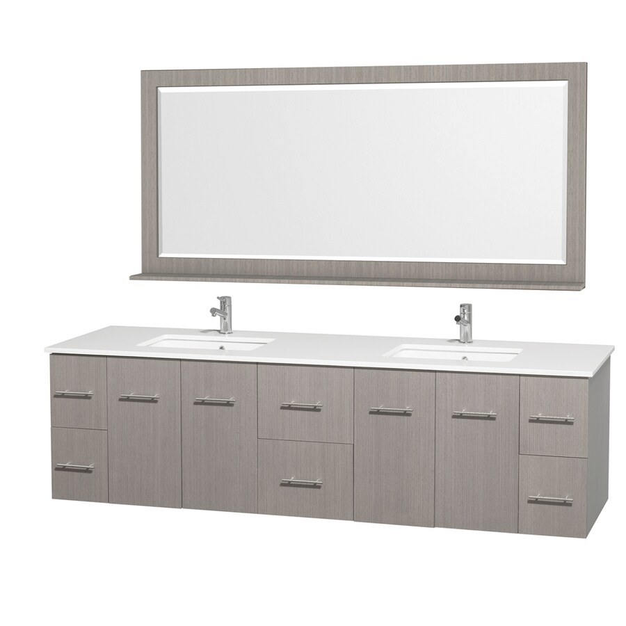 Wyndham Collection Centra Grey Oak Undermount Double Sink Bathroom Vanity with Engineered Stone Top (Common: 80-in x 22-in; Actual: 80-in x 22.25-in)