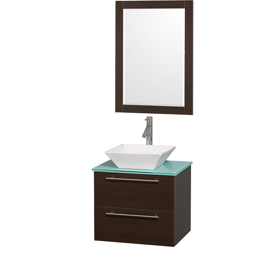 Wyndham Collection Amare Espresso 24-in Vessel Single Sink Bathroom Vanity with Tempered Glass and Glass Top (Mirror Included)