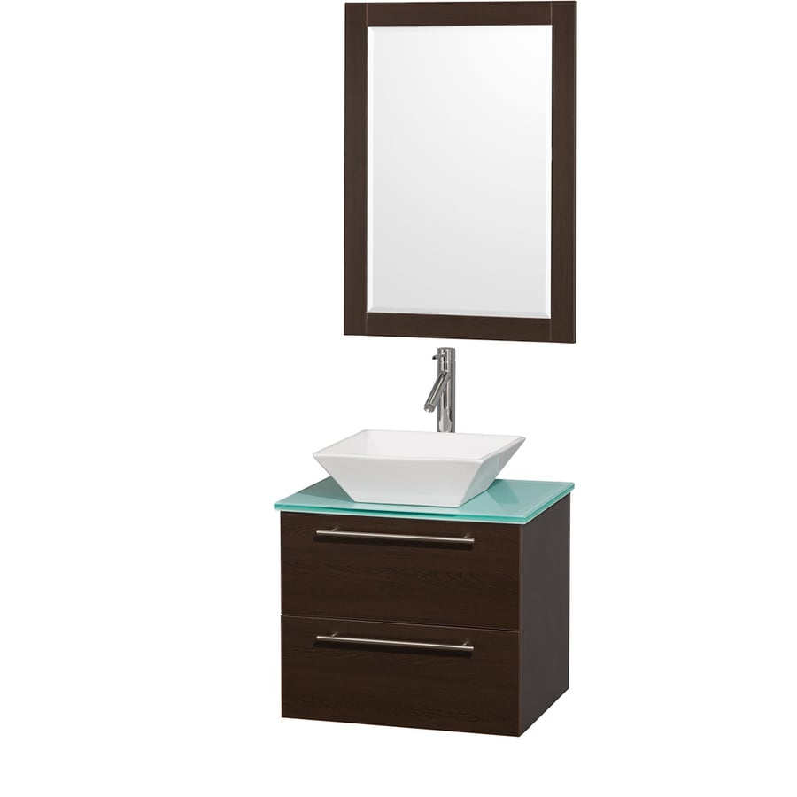 Wyndham Collection Amare Espresso (Common: 24-in x 20-in) Vessel Single Sink Bathroom Vanity with Tempered Glass and Glass Top (Mirror Included) (Actual: 24-in x 19.5-in)