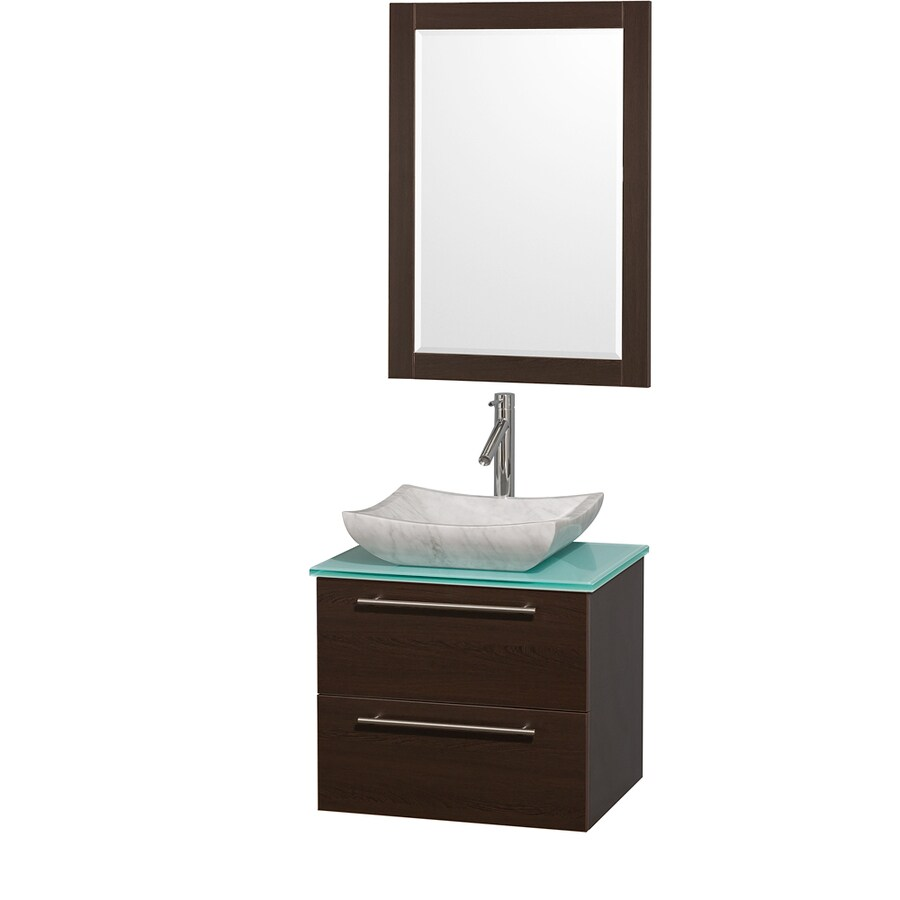 Wyndham Collection Amare Espresso Single Vessel Sink Bathroom Vanity with Tempered Glass and Glass Top (Common: 24-in x 20-in; Actual: 24-in x 19.5-in)