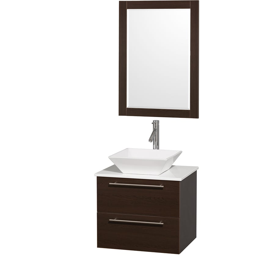 Wyndham Collection Amare Espresso 24-in Vessel Single Sink Bathroom Vanity with Engineered Stone Top (Mirror Included)