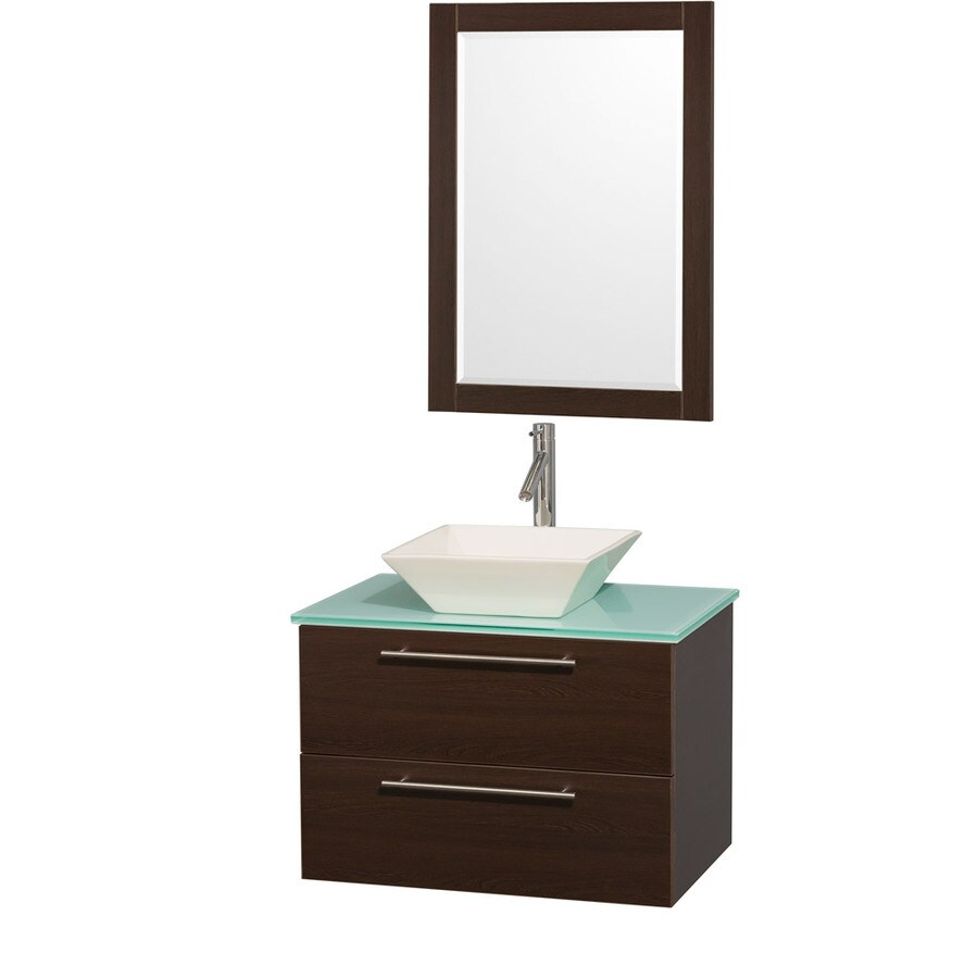 Wyndham Collection Amare Espresso (Common: 30-in x 21-in) Vessel Single Sink Bathroom Vanity with Tempered Glass and Glass Top (Mirror Included) (Actual: 30-in x 20.5-in)