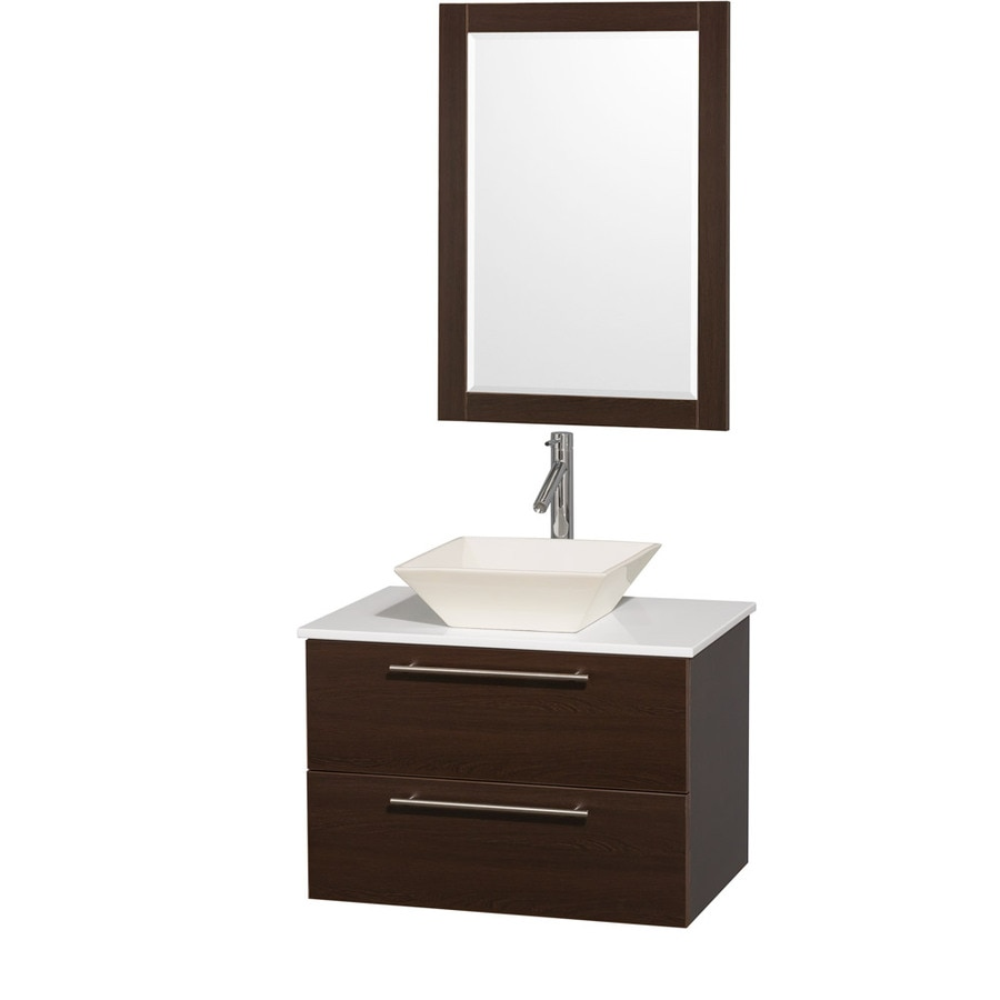 Wyndham Collection Amare Espresso 30-in Vessel Single Sink Bathroom Vanity with Engineered Stone Top (Mirror Included)