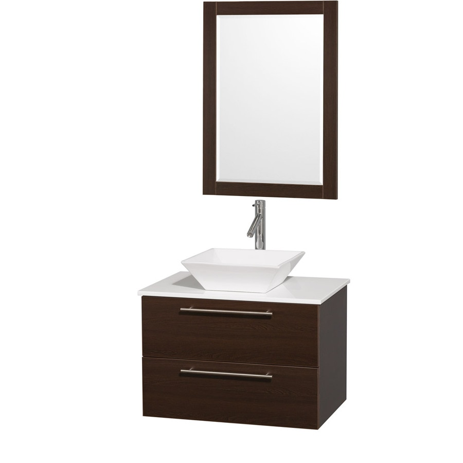 Wyndham Collection Amare Espresso Single Vessel Sink Bathroom Vanity with Engineered Stone Top (Common: 30-in x 21-in; Actual: 30-in x 20.5-in)