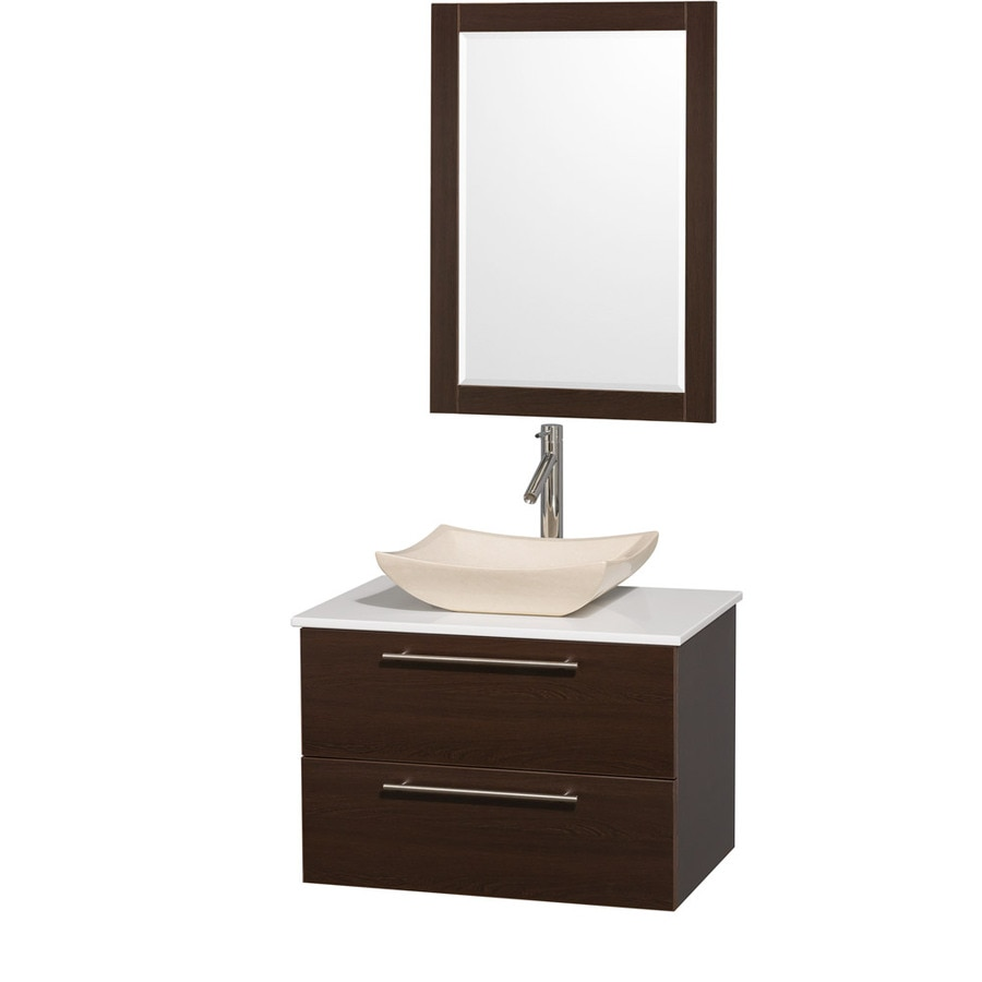 Wyndham Collection Amare Espresso (Common: 30-in x 21-in) Vessel Single Sink Bathroom Vanity with Engineered Stone Top (Mirror Included) (Actual: 30-in x 20.5-in)
