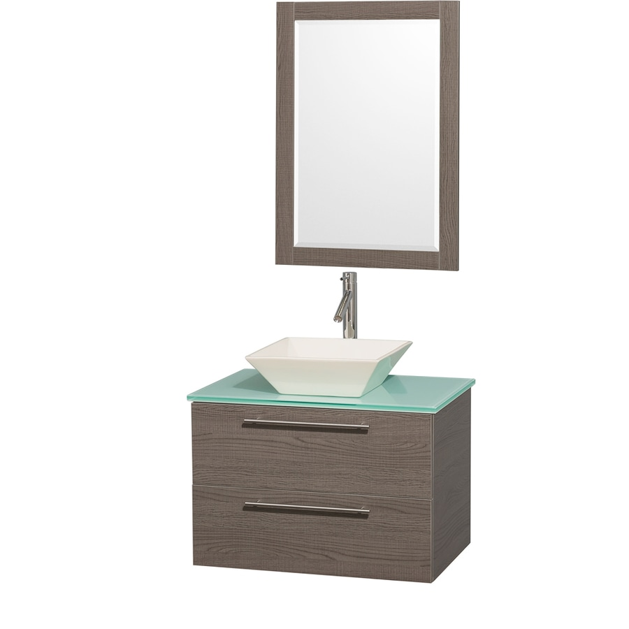 Wyndham Collection Amare Grey Oak 30-in Vessel Single Sink Bathroom Vanity with Tempered Glass and Glass Top (Mirror Included)