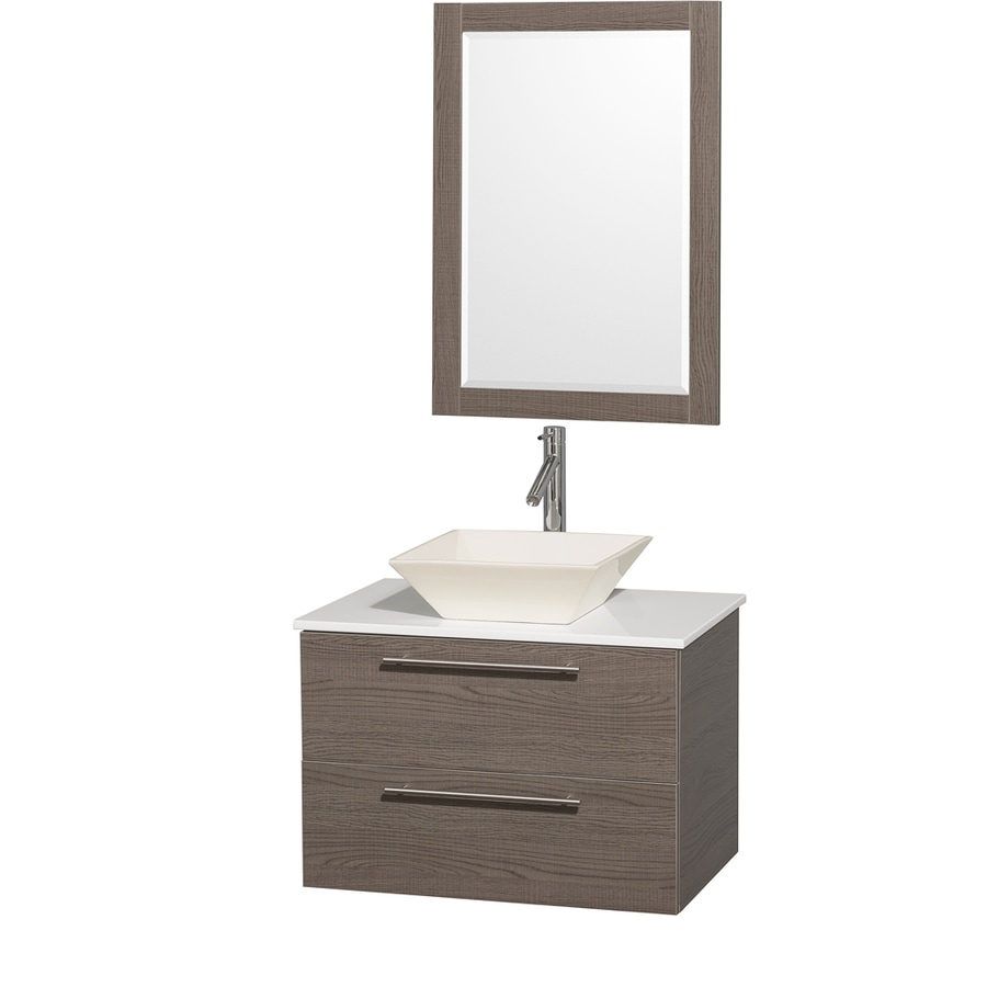 Wyndham Collection Amare Grey Oak (Common: 30-in x 21-in) Vessel Single Sink Bathroom Vanity with Engineered Stone Top (Mirror Included) (Actual: 30-in x 20.5-in)