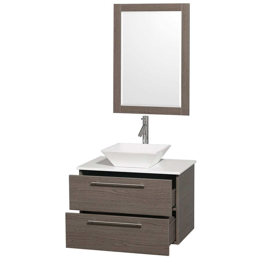 Wyndham Collection Amare Gray Oak (Common: 30-in x 20.5-in) Vessel Single Sink Bathroom Vanity with Engineered Stone Top (Mirror Included) (Actual: 30-in x 20.5-in)