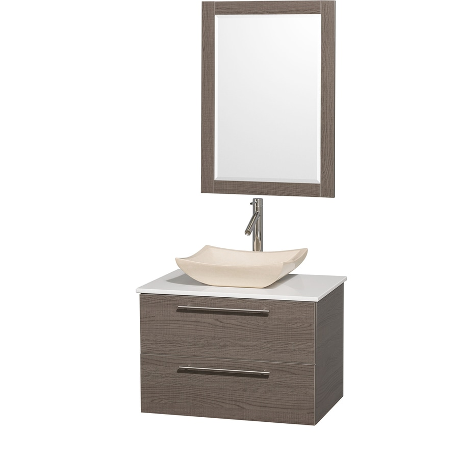 Wyndham Collection Amare Grey Oak 30-in Vessel Single Sink Bathroom Vanity with Engineered Stone Top (Mirror Included)