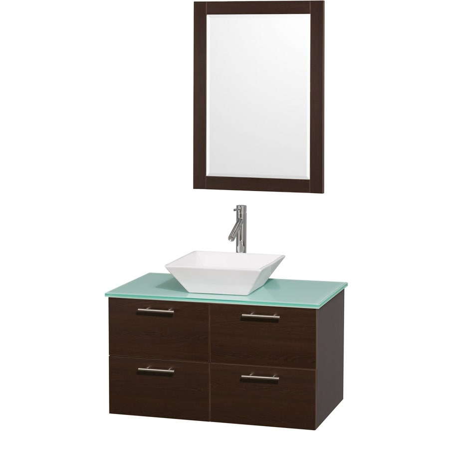 Wyndham Collection Amare Espresso (Common: 36-in x 22-in) Vessel Single Sink Bathroom Vanity with Tempered Glass and Glass Top (Mirror Included) (Actual: 36-in x 21.5-in)