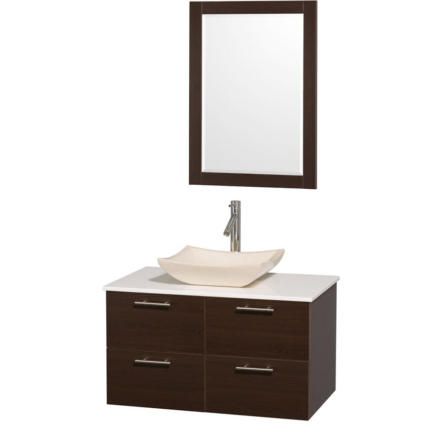 Wyndham Collection Amare Espresso (Common: 36-in x 22-in) Vessel Single Sink Bathroom Vanity with Engineered Stone Top (Mirror Included) (Actual: 36-in x 21.5-in)