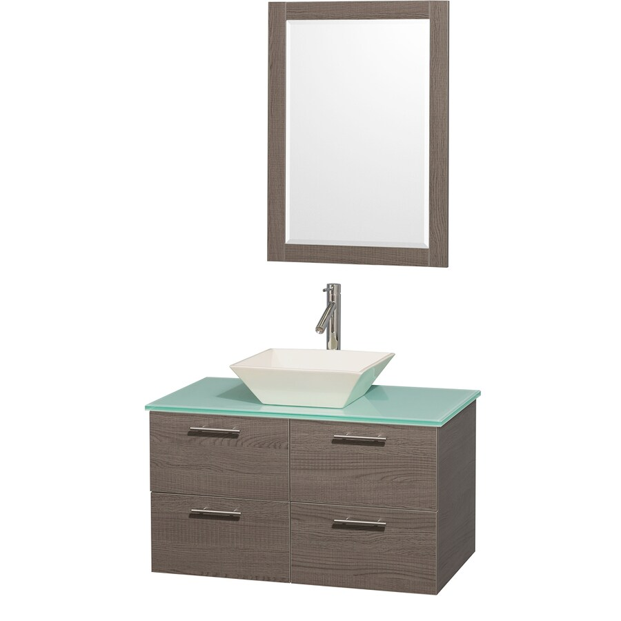 Wyndham Collection Amare Grey Oak 36-in Vessel Single Sink Bathroom Vanity with Tempered Glass and Glass Top (Mirror Included)