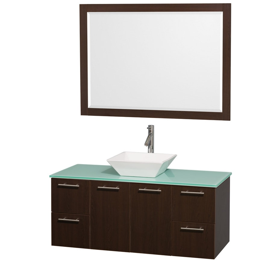 Wyndham Collection Amare Espresso 48-in Vessel Single Sink Bathroom Vanity with Tempered Glass and Glass Top (Mirror Included)