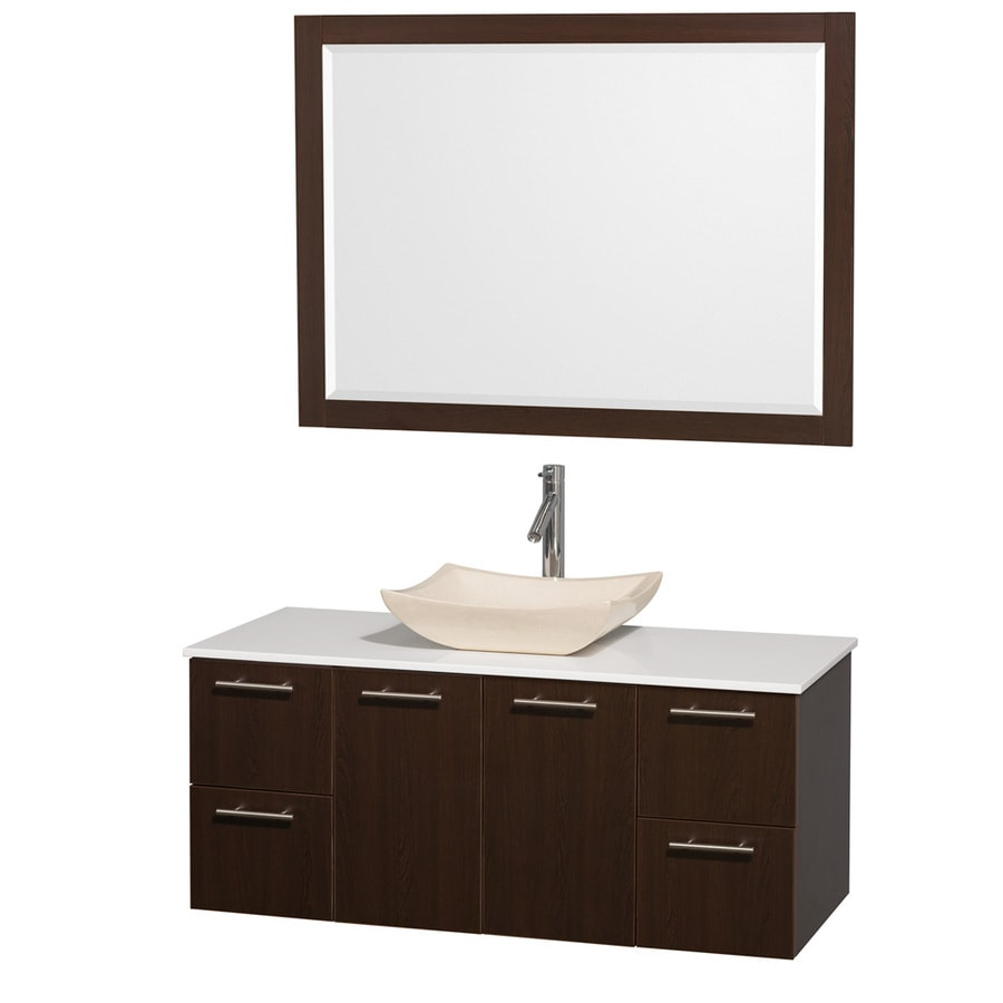 Wyndham Collection Amare Espresso Single Vessel Sink Bathroom Vanity with Engineered Stone Top (Common: 48-in x 22-in; Actual: 48-in x 21.75-in)