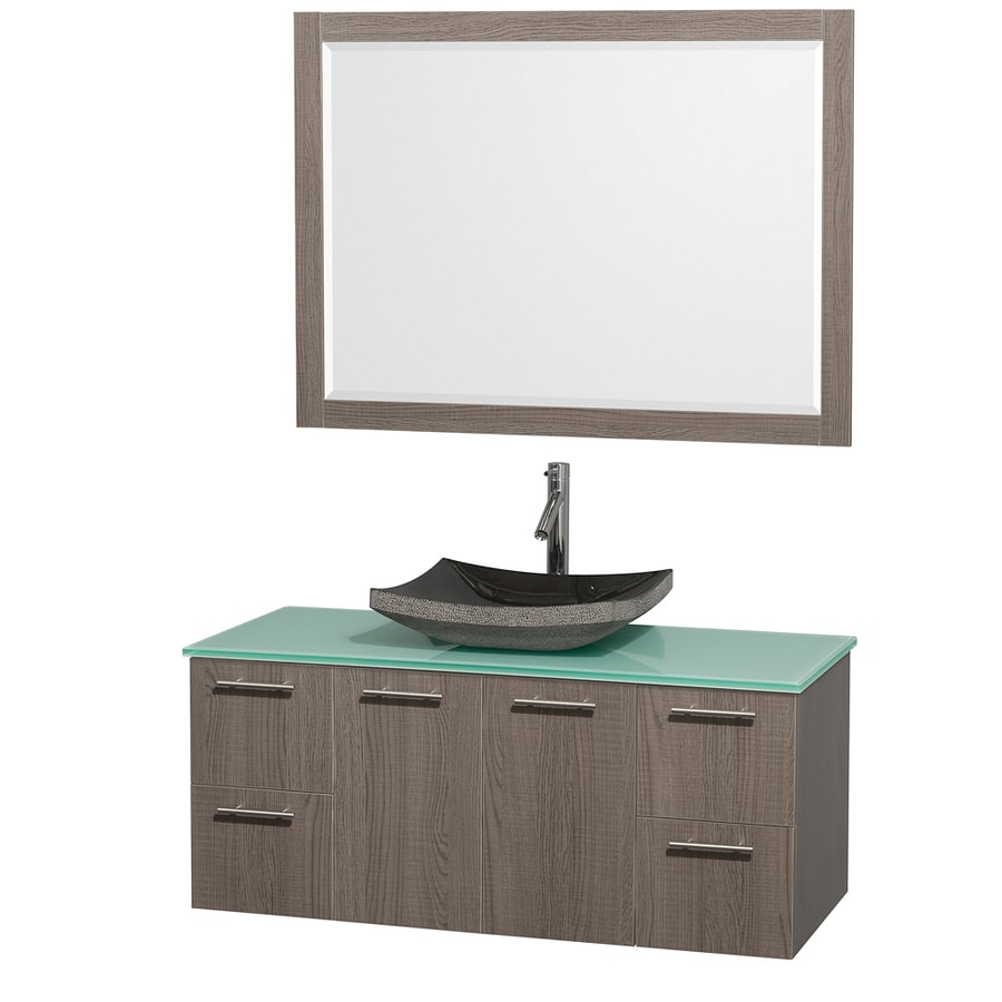 Wyndham Collection Amare Grey Oak 48-in Vessel Single Sink Bathroom Vanity with Tempered Glass and Glass Top (Mirror Included)