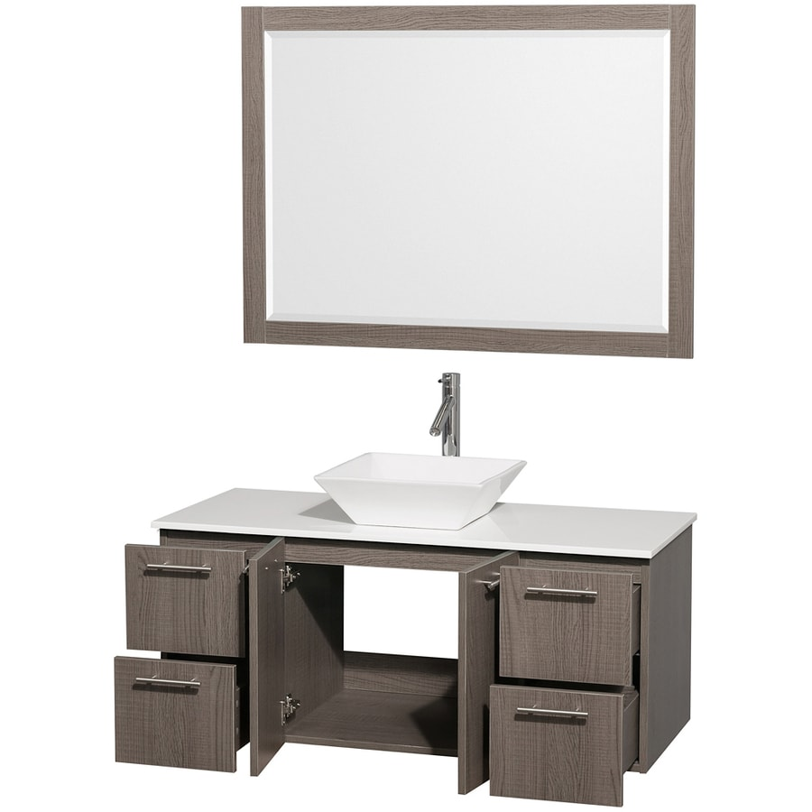 Wyndham Collection Amare Gray Oak Single Vessel Sink Bathroom Vanity with Engineered Stone Top (Common: 48-in x 22-in; Actual: 48-in x 21.75-in)